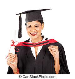 female Indian graduate isolated on white