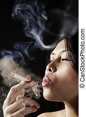 Female inhale smoke from cigarette on dark area