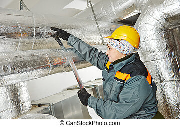 female insulation worker - Thermal insulation. Female ...
