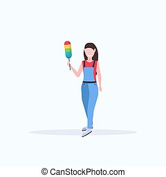 female janitor in uniform holding dust brush woman cleaner dusting cleaning service concept full length flat white background