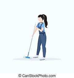 female janitor in uniform mopping floor woman cleaner holding mop cleaning service concept full length flat white background
