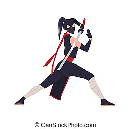 Female Japanese warrior, ninja or samurai. Brave woman...