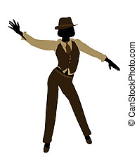 Female jazz dancer illustration silhouette on a white background