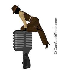 Female Jazz Musician Illustration - Female jazz musician on...