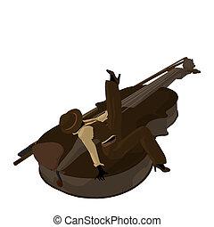 Female Jazz Player Illustration - Female jazz player on a...