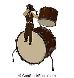 Female Jazz Player Illustration - Female jazz player on...
