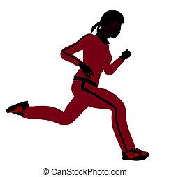 Female Jogger Illustration Silhouette - Female jogger...