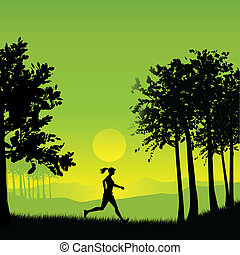 Female jogger - Silhouette of a female jogging in the...