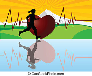 Female Jogger with Heartbeat Illustration