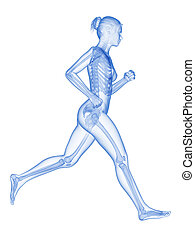 Female jogger with visible bones