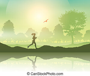 Female jogging in the countryside