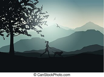 female jogging with dog 2701