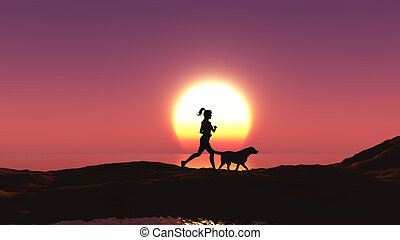Female jogging with her dog at sunset