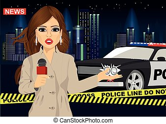 Female journalist reports news about accident in front of police car