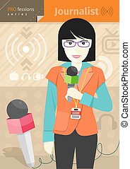 Female journalist with badge holding microphone - Profession...