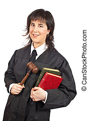 Female judge - A happy female judge holding the gavel and...