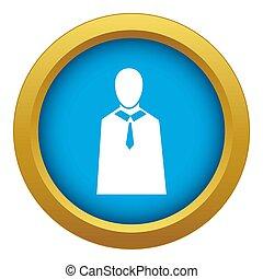 Female judge icon blue isolated