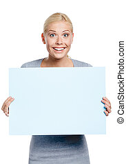 Female keeping huge sheet of paper