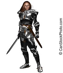 Female Knight in Shining Armour - Woman wearing Medieval or...