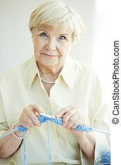 Female knitting
