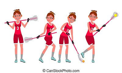 Female Lacrosse Player Vector. Profesional Sport. Holding...