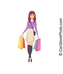 Female Lady Walking with Bags and Handbag Vector