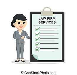 female lawyer with law firm services clipboard