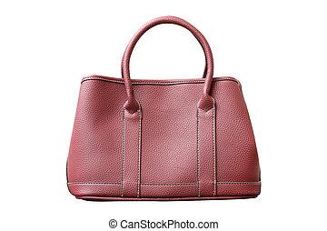 female leather handbag isolated on white background