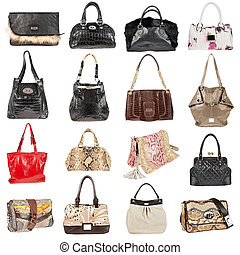 Female leather handbags on a white background