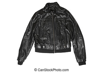 Female leather jacket isolated on white background