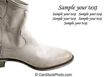 Female leather stylish shoes isolated on white background