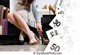 Female legs and variety of shoes. Black Friday sale