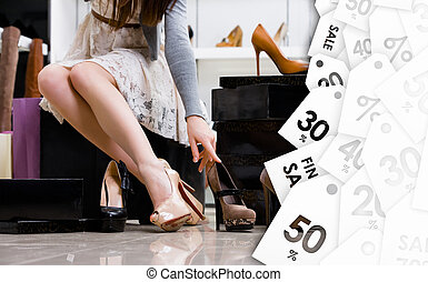 Female legs and variety of shoes. Clearance sale