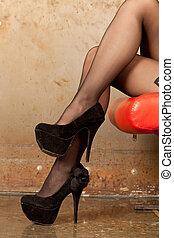 Female legs - Beautiful shapely female legs with high heels