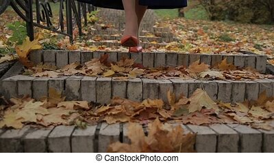 Female legs in heels stepping downstairs in autumn