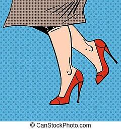 Female legs in red shoes woman coat goes pop art comics retro st