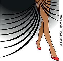Female legs on black