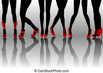 Female legs silhouettes with red shoes