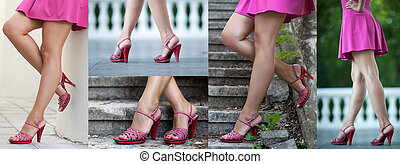 Female legs - Beautiful female legs in red shoes, more...