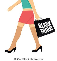 female legs wearing black shoes walking with shopping bag with black friday text