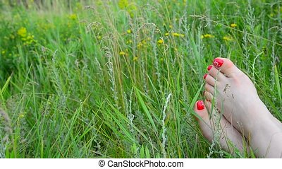 Female legs with a red pedicure on green grass