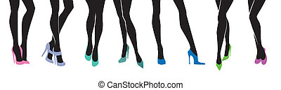 Female legs with different shoes - Vector illustration of...