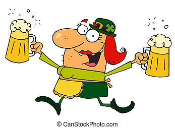 Female Leprechaun Running With Beer