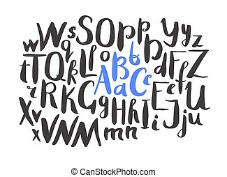 Female Lettering alphabet. Hand made ink font. Hand drawn Letters written with a brush. Trendy hipster vector illustration