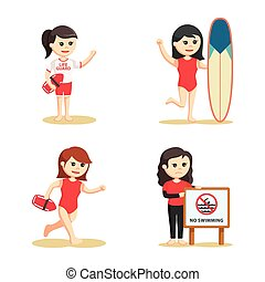 female lifeguard set illustration design
