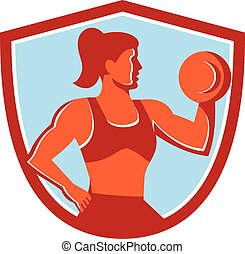 Female Lifting Dumbbell Shield Retro - Illustration of a...