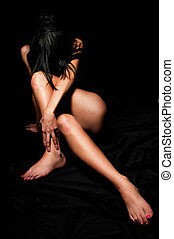 Female line - Nude female body, woman on back with crossed...