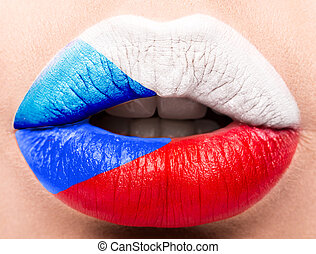 Female lips close up with a picture flag of Czech Republic. white, red, blue.