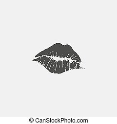 Female lips icon in a flat design in black color. Vector illustration eps10