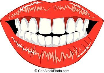 Female lips with teeth